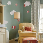 Hot Air Balloons and Clouds Fabric Decals