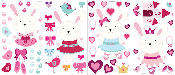 Funny Bunny  Peel and Stick Appliques SALE - Wall Sticker Outlet