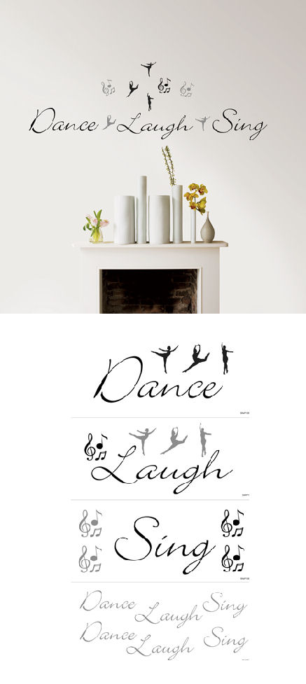 Dance Laugh Sing Self-Stick Home Wall Art - Kids Wall Decor Store