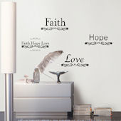 Faith Hope Love Self-Stick Home Wall Art