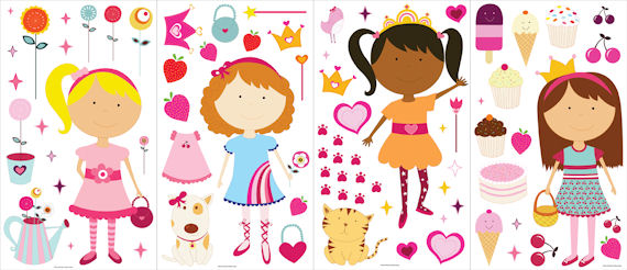 Girly Girl  Peel and Stick Appliques  SALE - Wall Sticker Outlet