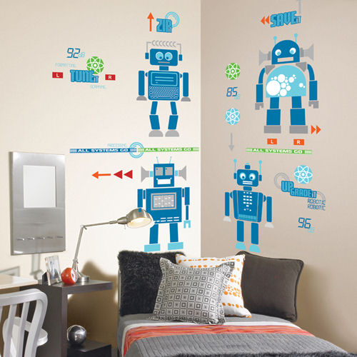 Robotic room peel and stick appliques kids wall decor store for Robot room decor