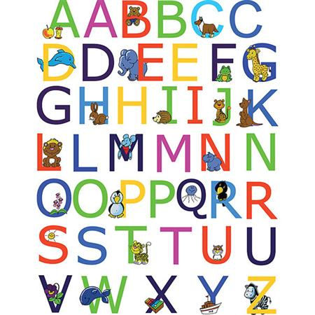 Alphabet peel and stick wall stickers for Alphabet wall mural