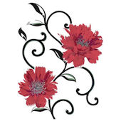 Red Flowers Peel and Stick Wall Stickers