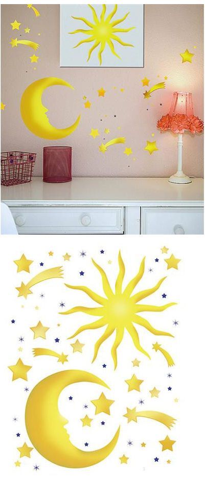 Stars and Moon Peel and Stick Wall  Stickers - Wall Sticker Outlet