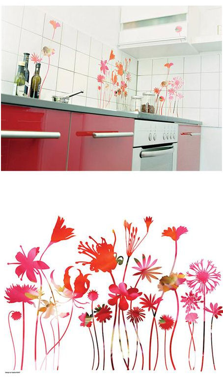 Stemmed Flowers Peel And Stick Wall Stickers