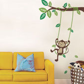 Monkey On A Swing Wall Decal