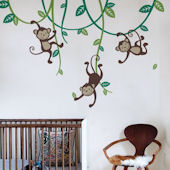 Three Monkeys Swinging From Vines Wall Decal