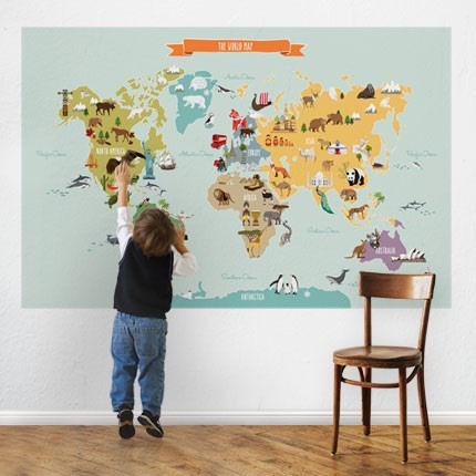 World Map Peel And Stick Wall Decal - Wall Sticker Outlet