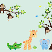 Double Trouble Jungle Animal Wall Mural Decal