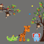 Double Trouble Primary Jungle Animal Wall Decal