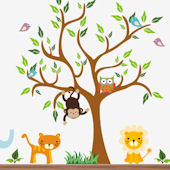 Monkey and Owl Nursery Tree Wall Mural Stickers