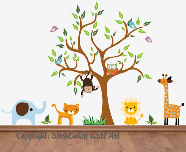 Monkey and Owl Nursery Tree Wall Mural Stickers - Wall Sticker Outlet