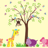 Girly Jungle Animal Wall Mural Decals