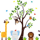 Nursery Tree with Zoo Animals Wall Mural Decal