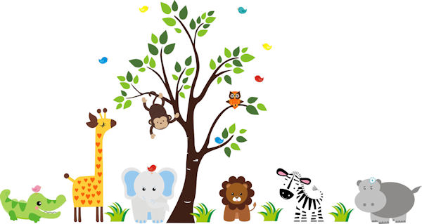 Nursery Tree with Zoo Animals Wall Mural Decal - Wall Sticker Outlet