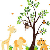 Bird on Tiger and Tree Wall Mural Stickers