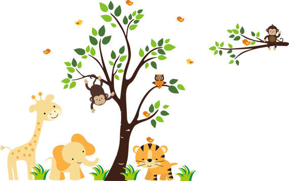 Tree Wall Murals bird on tiger and tree wall mural stickers