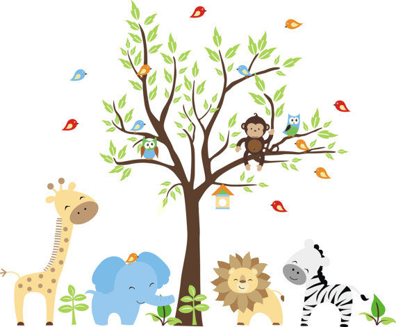 nursery jungle wall mural stickers jungle wild animals wall sticker wallpaper for kids baby