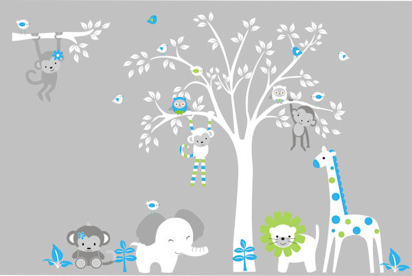 White Tree Jungle Animal Wall Mural Decal - Wall Sticker Outlet