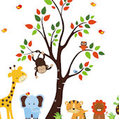Tree with Tangerine Leaves and Zoo Animals Decals