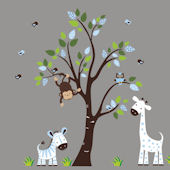 Blue Polka Dot Tree and Animals Wall Mural Sticker
