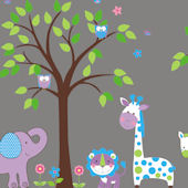 Pretty Purple Nursery Tree Wall Mural Stickers