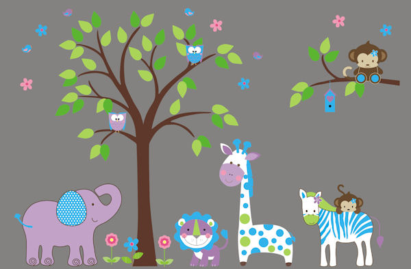 Pretty Purple Nursery Tree Wall Mural Stickers - Wall Sticker Outlet