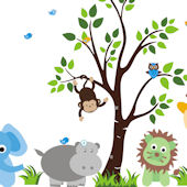 Baby Green Lion Nursery Tree Wall Mural Stickers
