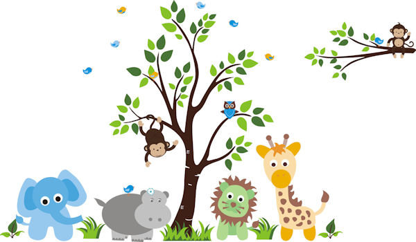 Baby green lion nursery tree wall mural stickers for Baby jungle mural