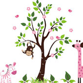 Pink Hearts and Flowers Jungle Wall Mural Stickers