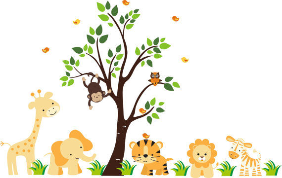Sunshine jungle wall mural stickers for Baby jungle mural