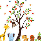Happy Turtle and Friends Tree Wall Mural Stickers