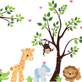 Huge Animal Jungle Wall Mural Stickers
