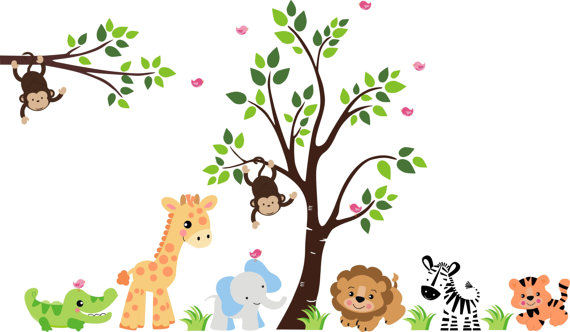 Huge animal jungle wall mural stickers for Baby jungle safari wall mural