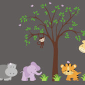 Adorable Hippo and Tree Wall Mural Stickers