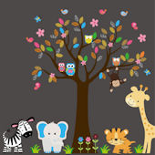Girl Owl Family and Tree Wall Mural Stickers