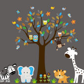 Owl Family and Tree Wall Mural Stickers