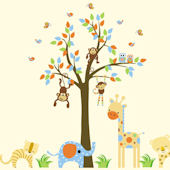 Smiley Cheetah and Friends Tree Wall Mural Sticker