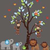 Two By Two Jungle Animal Wall Mural Decals