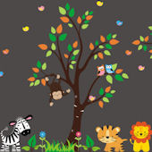 Lovebirds and Jungle Animal Wall Mural Decals