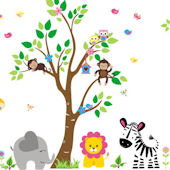 Sweet Tree Jungle Animal Wall Mural Decals