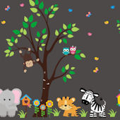 Happy Owl Jungle Animal Wall Mural Decals