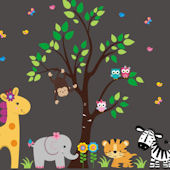 Flowers in the Jungle Animal Wall Mural Decals