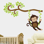 Boy Monkey Swinging on a Vine Wall Decal