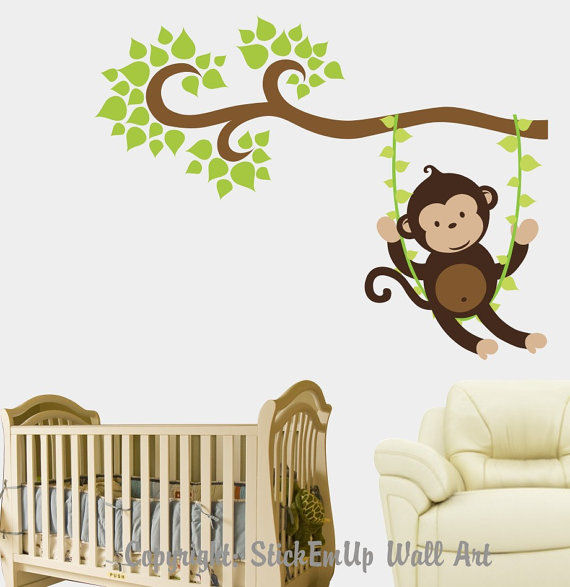 Boy Monkey Swinging on a Vine Wall Decal - Wall Sticker Outlet