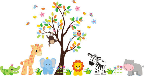 butterfly zoo tree & animals wall mural sticker