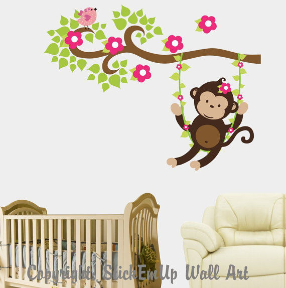 Girl Monkey Swinging on a Vine Wall Decal - Wall Sticker Outlet