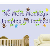 No More Monkeys Jumping On The Bed Boys Decal
