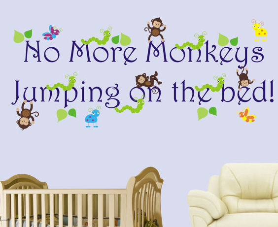 No More Monkeys Jumping On The Bed Boys Decal - Wall Sticker Outlet